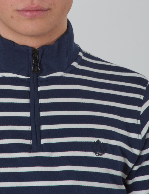 LB Engineered Stripe Quarter Zip Through