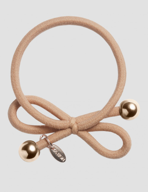 HAIR TIE WITH GOLD BEAD - BEIGE