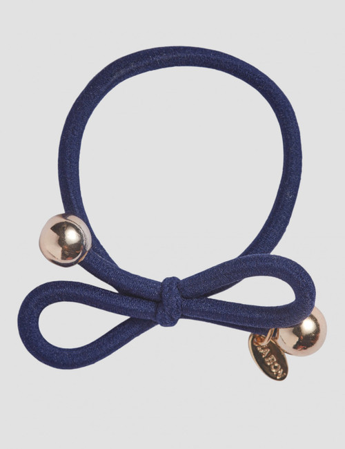 HAIR TIE WITH GOLD BEAD - NAVY