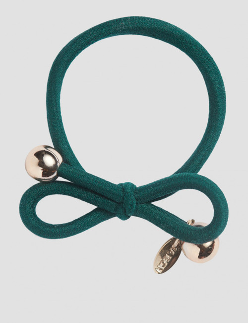 HAIR TIE WITH GOLD BEAD - DARK GREEN