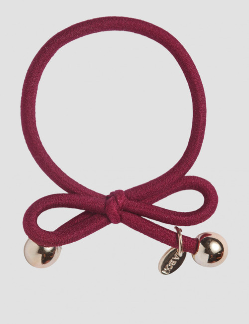 HAIR TIE WITH GOLD BEAD - BURGUNDY