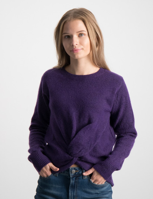 Wrap over knit with pointelle stitCN