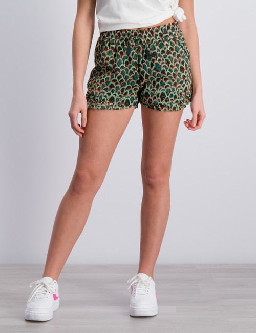 Drapey woven all-over printed shorts