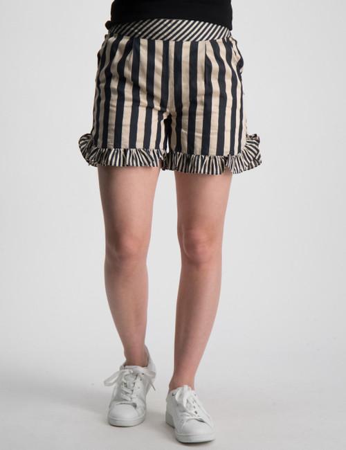 Linen stripe mix  short with ruffle hem